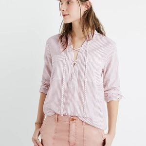 Madewell Terrace Lace-Up Shirt in Vera Stripe